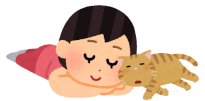 猫と寝ている人のイラスト