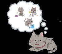 夢を見ている猫のイラスト