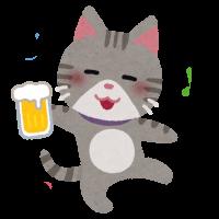 酔っ払った猫のイラスト