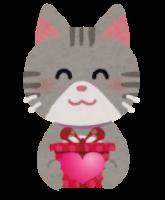 気持ちをプレゼントする猫のイラスト
