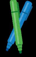 青と緑のマーカーのイラスト