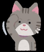 顔の毛並みを整える猫のイラスト