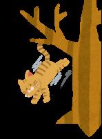 木から飛び降りる猫のイラスト