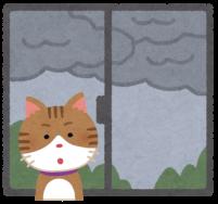 雨が降りそうな空と猫のイラスト