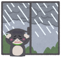 梅雨が苦手な猫のイラスト