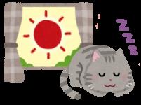 日向ぼっこをする猫のイラスト