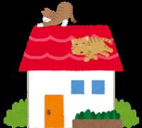 屋根の上にいる猫たちのイラスト
