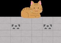 塀の上にいる猫のイラスト