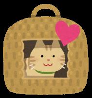 猫ちぐらで喜ぶ猫のイラスト