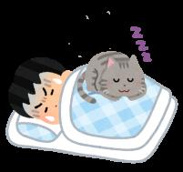 猫と寝る人のイラスト4
