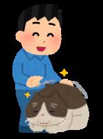 高齢猫と飼い主のイラスト
