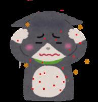アレルギーが出た猫のイラスト