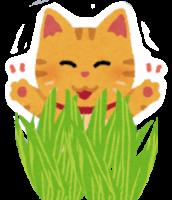 猫草を見て喜ぶ猫のイラスト