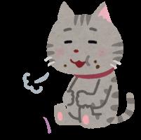満腹な様子の猫のイラスト