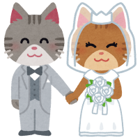 猫の結婚式のイラスト