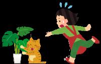観葉植物にイタズラをする猫のイラスト