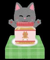 離乳食に喜ぶ猫のイラスト