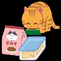 保存状態が良いフードを食べる猫のイラスト