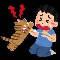 歯磨きをイヤがる猫のイラスト