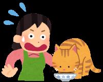 フードを丸飲みする猫に驚く人のイラスト