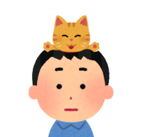 頭に乗る猫のイラスト