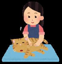 猫をマッサージしている人のイラスト