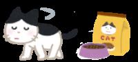 フードに飽きた猫のイラスト