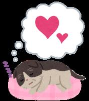 幸せそうに寝てるシニア猫のイラスト