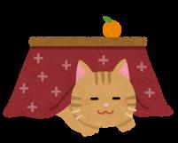 こたつで寝る猫のイラスト