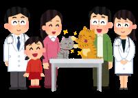 猫と家族と獣医のイラスト