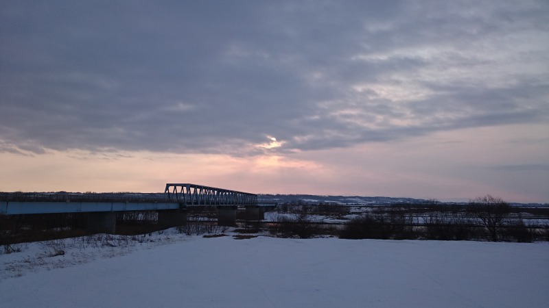 もぐり橋にて夕陽撮影