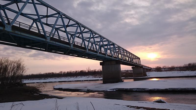 念願のもぐり橋と夕陽のコラボ