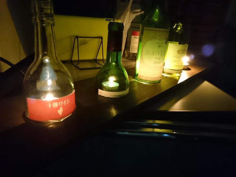 ワインボトルキャンドル点灯