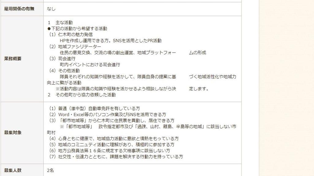 仁木町地域おこし協力隊の情報