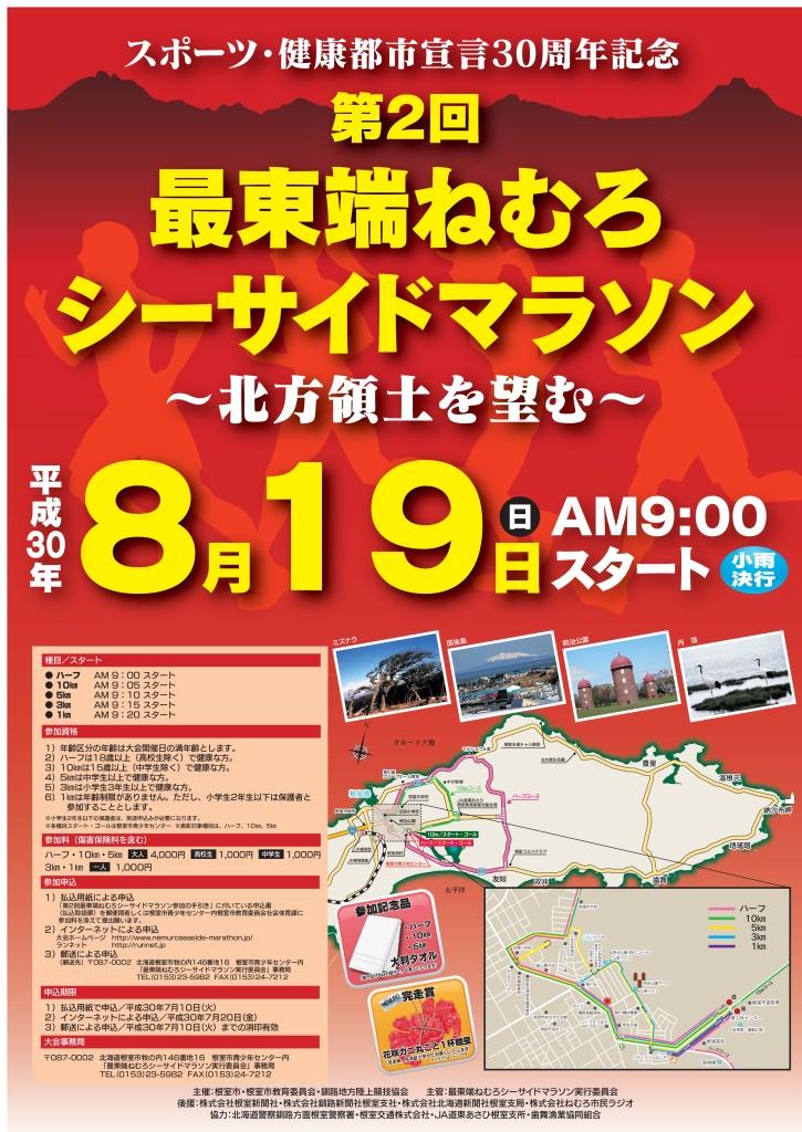 最東端ねむろシーサイドマラソンポスター(2018年)