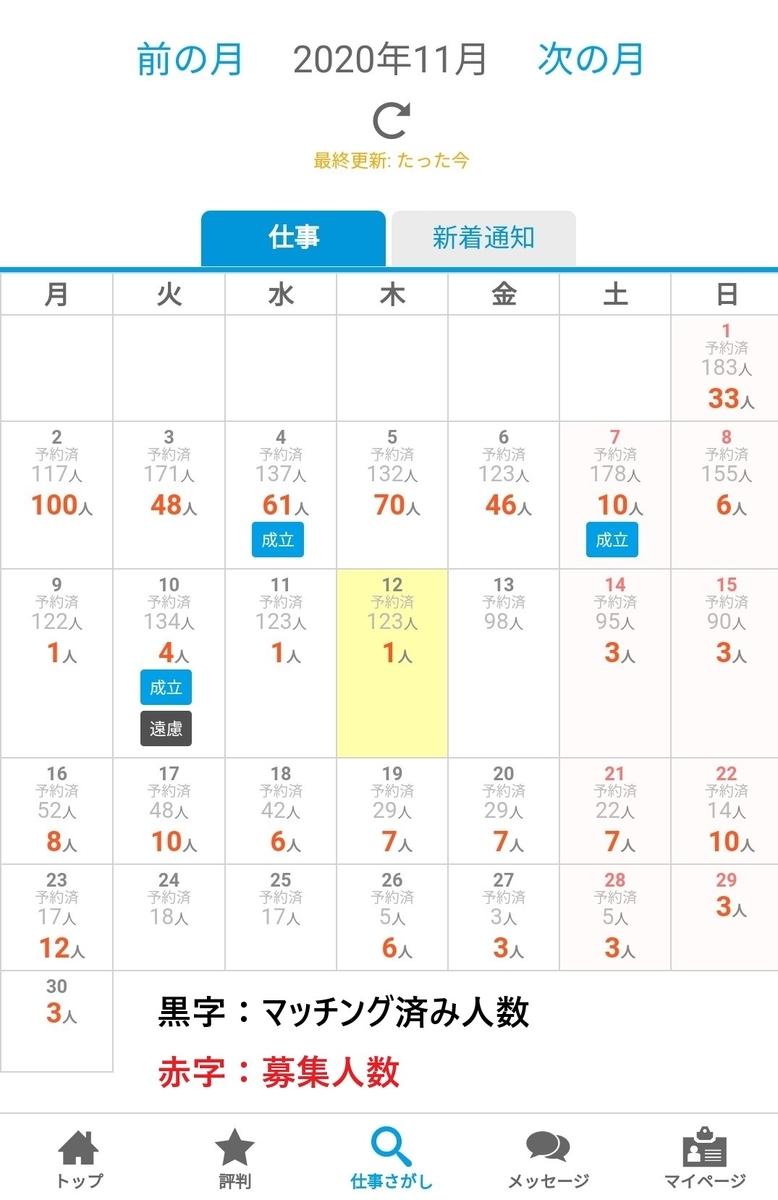 カレンダー式でわかりやすいデイワークの求人画面