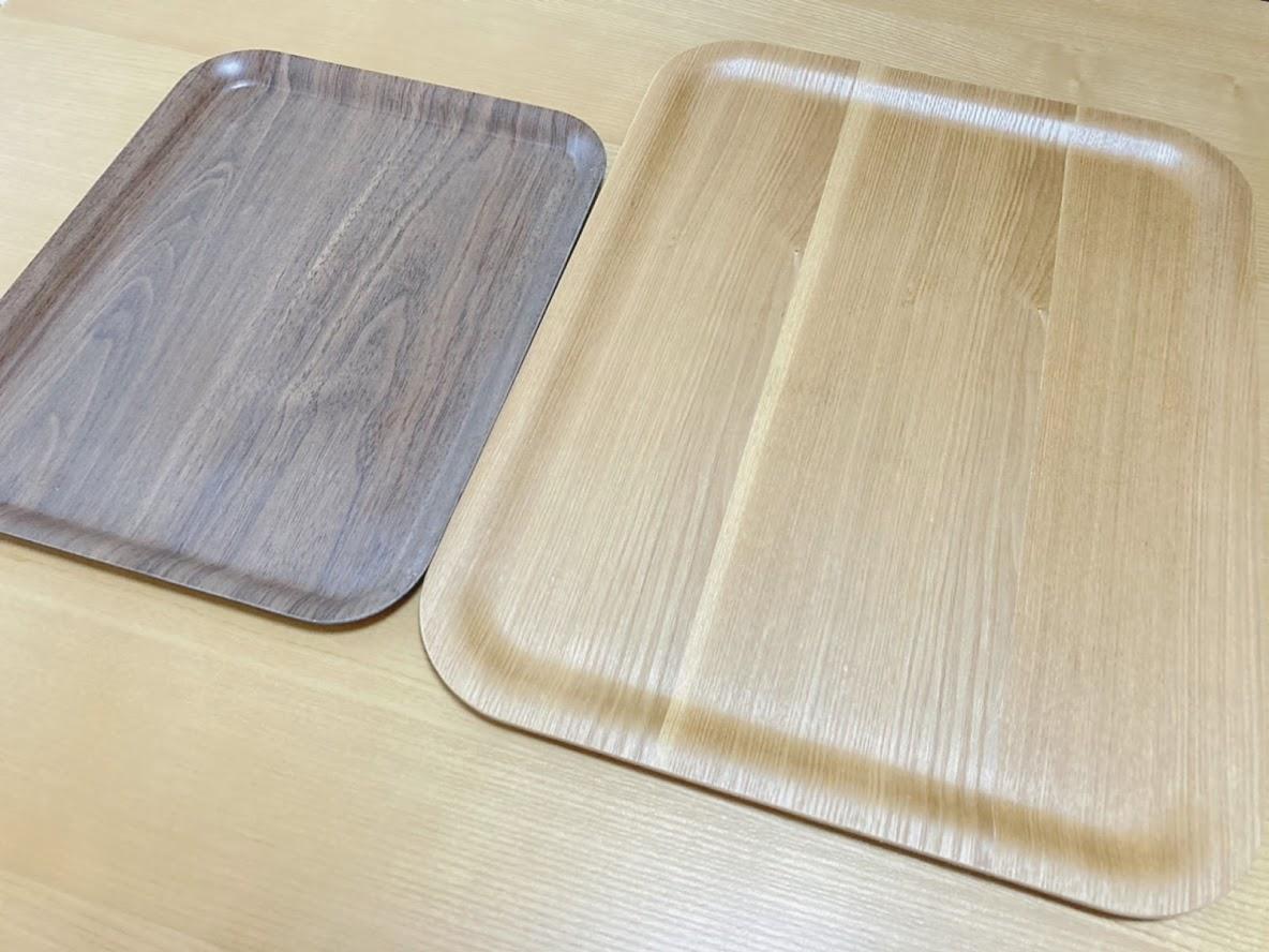 DAISOペーパートレーとニトリ木製トレー
