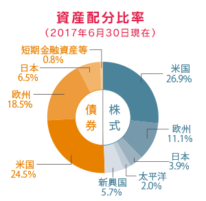 セゾン・バンガード・グローバルバランスファンドの資産構成の円グラフ図解