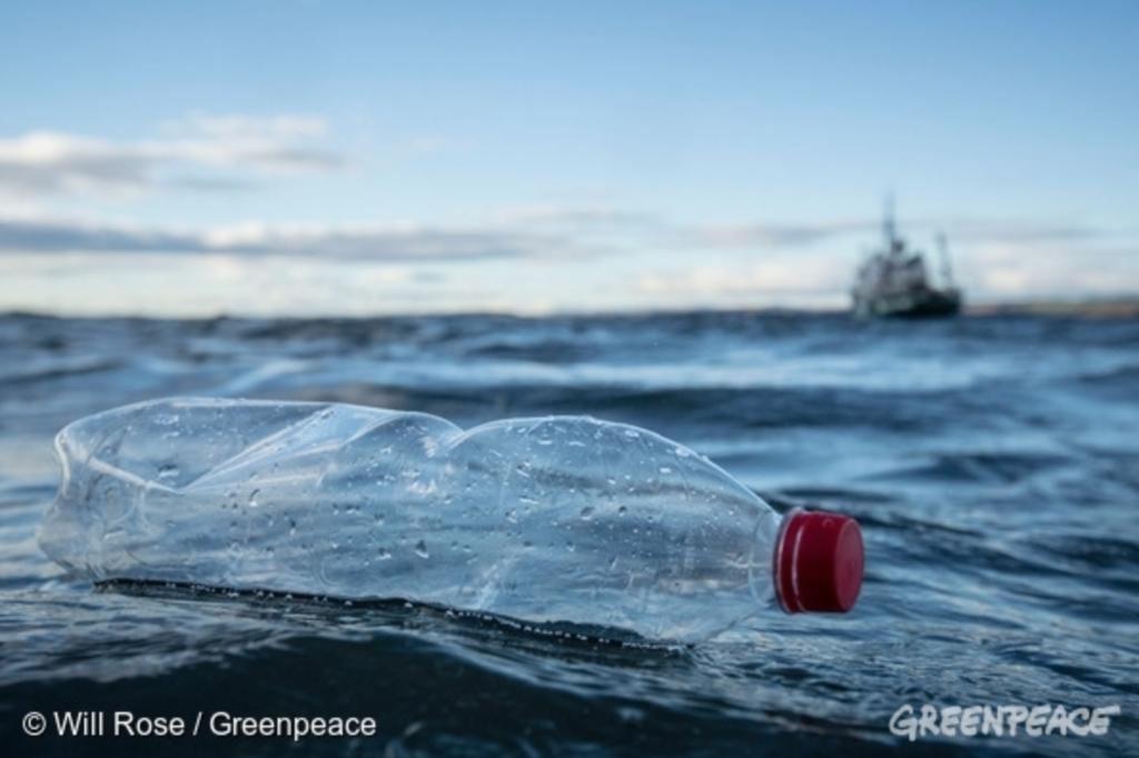 水上に漂うプラスチックボトル。海上汚染の象徴的な写真