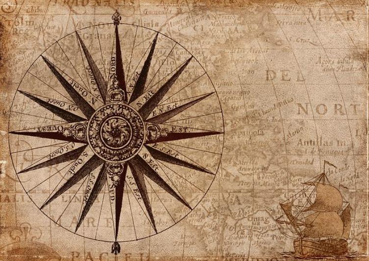 コンパス(羅針盤)の図と帆船の画像。方向を明確に企業経営をする