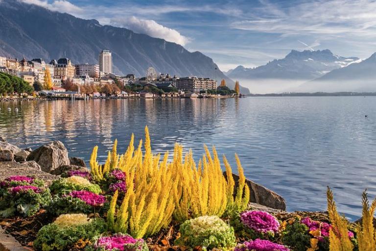 湖のほとりの美しい風景。自然の積み重ねを感じる風景