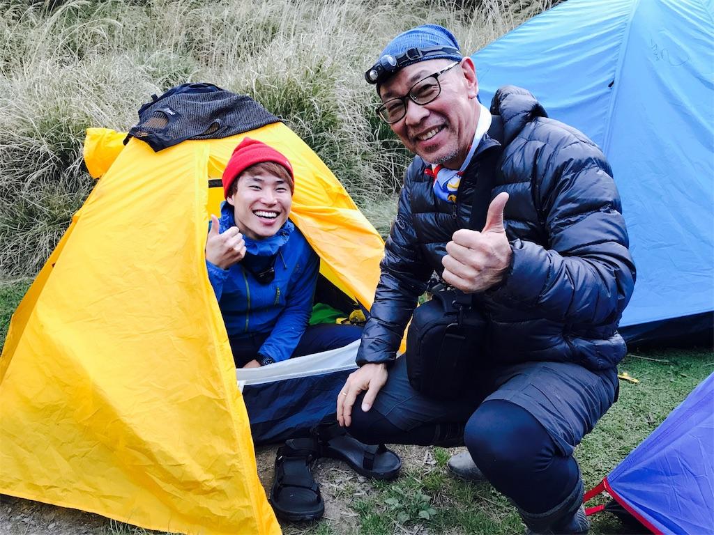 台湾・雲稜山荘に張ったテント