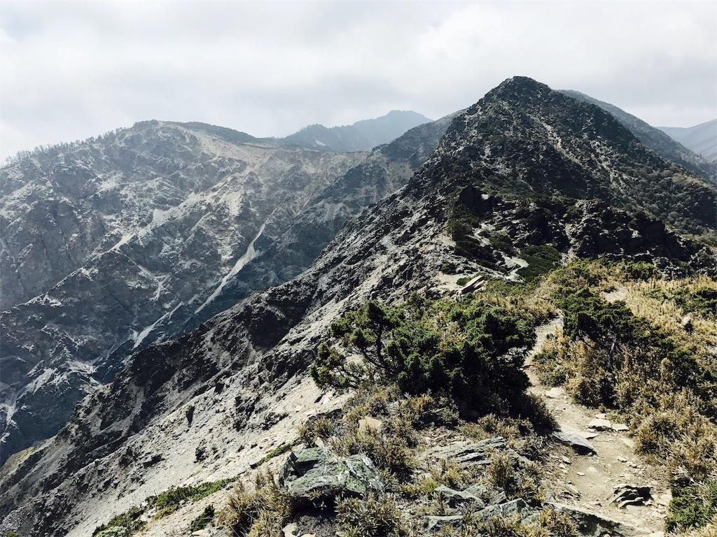 南湖北山から南湖大山へと向かう登山道
