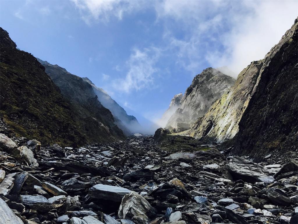 南湖大山と中央尖山の間の谷