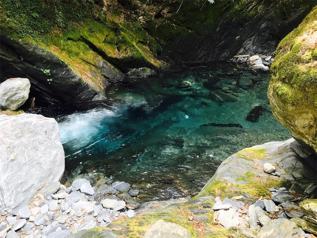 中央尖渓の透き通った流れ