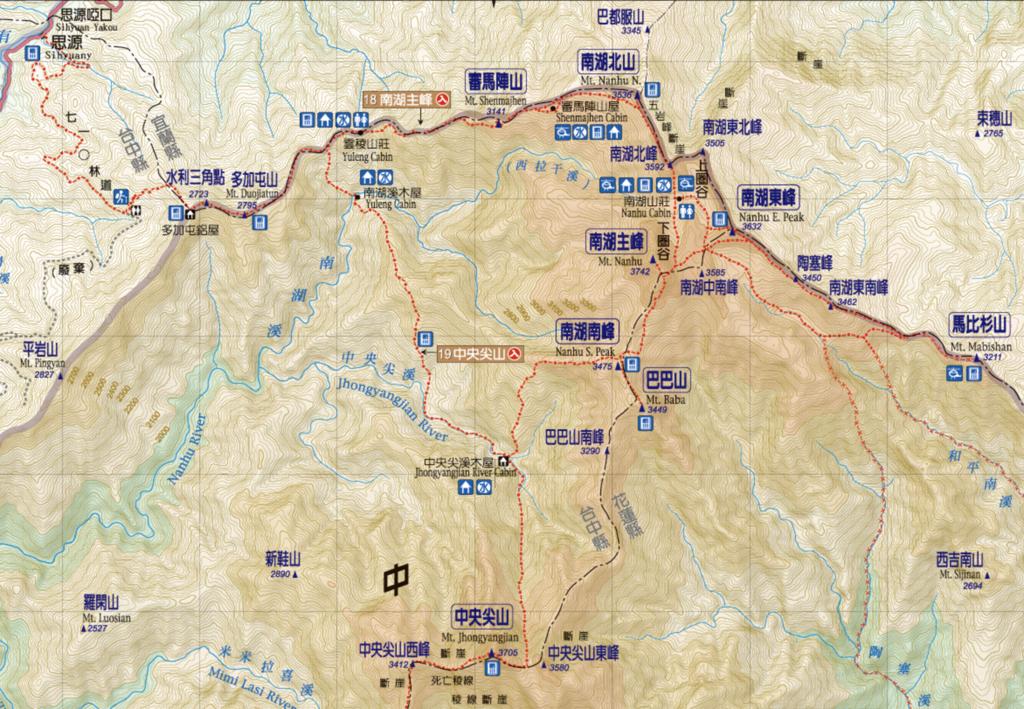 北一段の登山地図