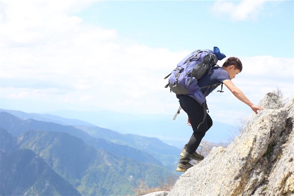 ベースレイヤーを着て登山するハイカー