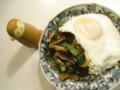 [food]小松菜と椎茸とベーコンのオイスターソース炒め