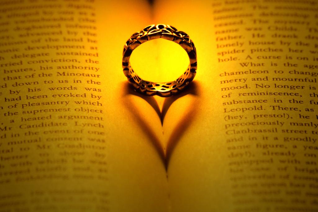 ハート型に映る指輪の影