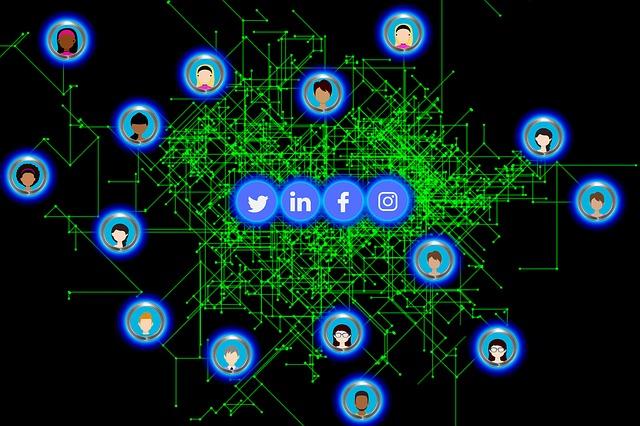 SNSでつながるネットワーク社会の図